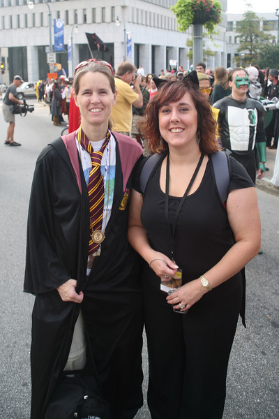 These are my friends, Dianne and Carmen.  Dianne is sporting the appropriate Gryffindor uniform (from the Harry Potter series), and Carmen has sprouted a nice set of cat ears (look for those ears in another of my pictures).