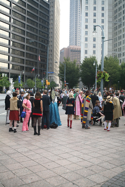 Fans and participants begin to gather for the annual parade, held on the Saturday morning of the weekend.  Some 1,500 people, in costume, march from Woodruff Park up Peachtree Street to the host hotels.