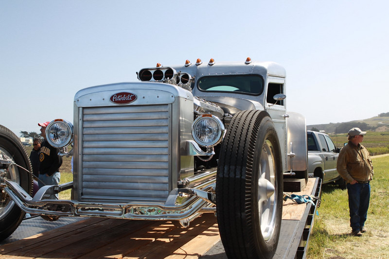 OK, these hot rods were totally awesomely scary.  Hot rods built on a Peterbilt chassis!