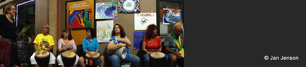 Got a new camera that does panorama shots... what do you think? This is the drummers along the north wall inside the atrium at 2424 N., Davidson for The Happening on 8.24.11. The Gathering of drummers and dancers.