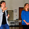 "Debbie Blank | The Herald-Tribune<br /> Janie Linkel-Owens (left) and Stacie Fogle, two of many parent organizers, welcome the crowd of over 150, including families of incoming kindergartners enrolled in DLI. Linkel-Owens said beforehand, ""We want to provide a night of connecting families, students, the community, companies and Batesville Community School Corp., while providing a fun evening full of Chinese."""