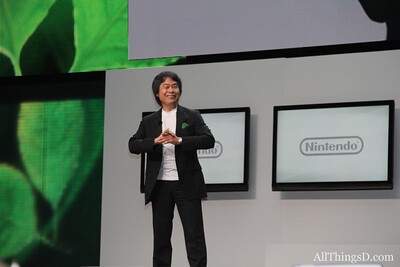 Nintendo's star developer Shigeru Miyamoto onstage at E3.