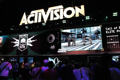 The new Call of Duty on the big screen at the Activision booth.