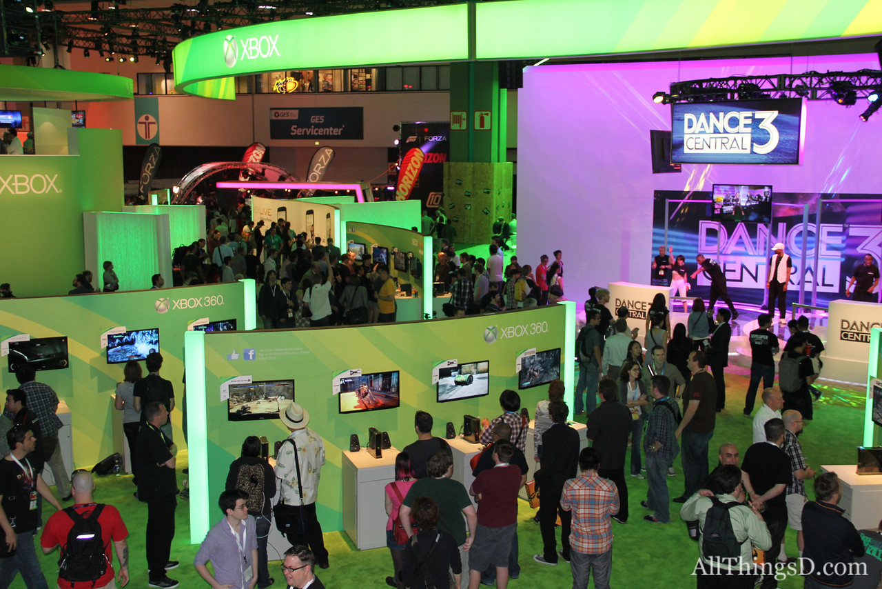 An aerial view of the Microsoft Xbox booth.