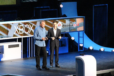 Joe Montana joins Microsoft onstage to promote EA's Madden NFL 13.