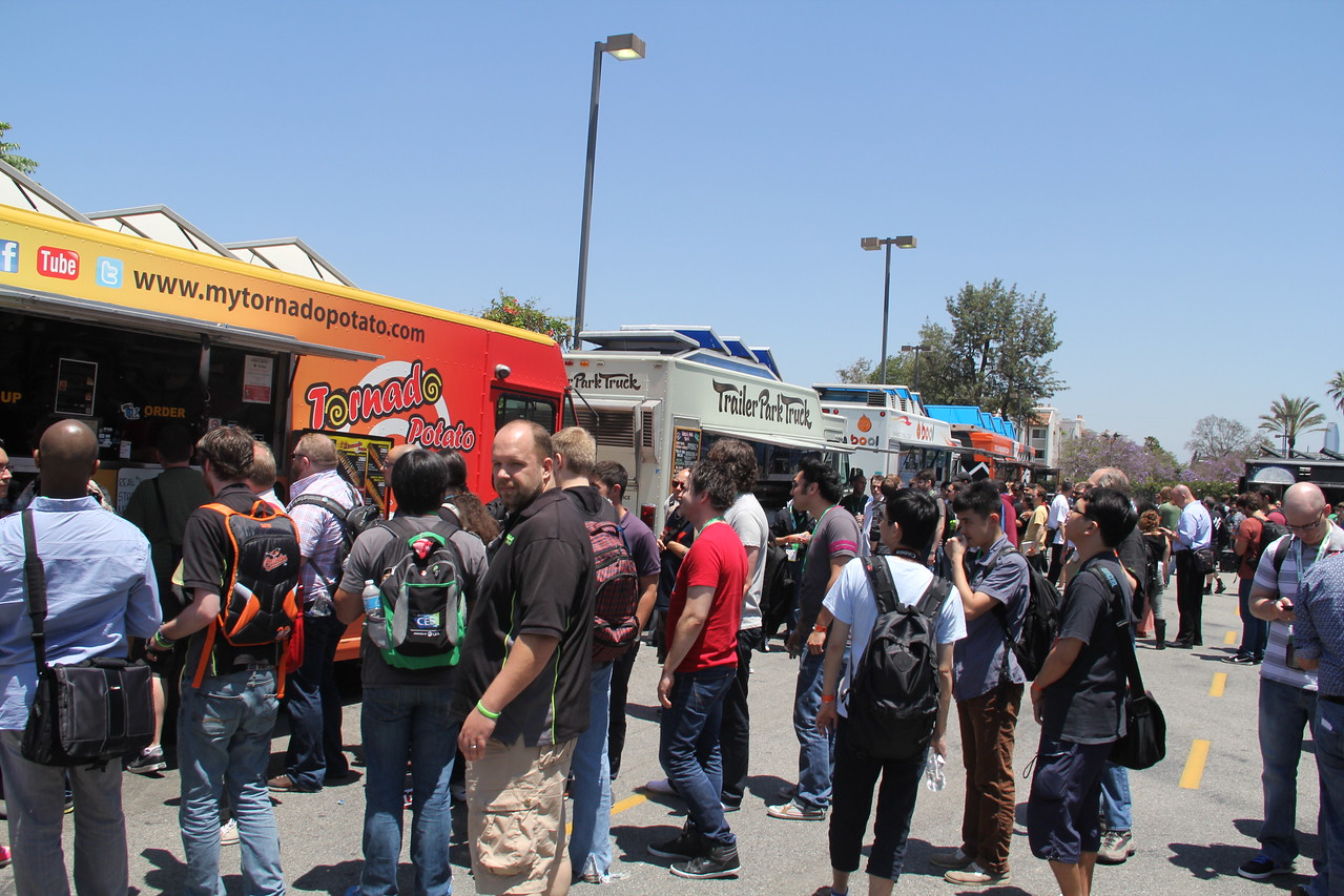 Food trucks lined up outside the Shrine Auditorium, hoping to entice hungry gamers at E3. It worked.