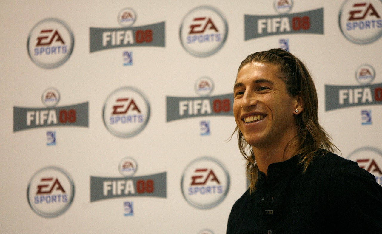 Real Madrid's soccer player Sergio Ramos attends a press conference before a motion capture filming for the new game FIFA 08 in Barcelona, May 24, 2007. REUTERS/Albert Gea (SPAIN)