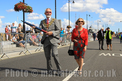 The Mayor of Harwich Cllr. Dave McLeod and Mayoress Cllr. Dee King. The Quay, Harwich. Essex Air Ambulance Motorcycle Run 2013