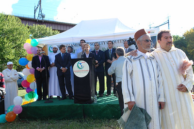 Aravella Simotas, Candidate for the State Assembly, speaking at the Eid ul Fitr ceremonie, organized by the Muslims American Society in Astoria Park.