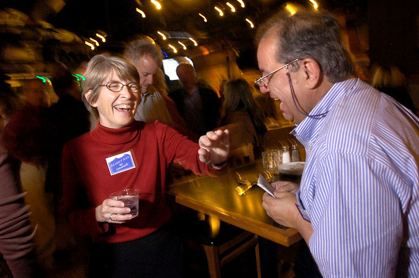 VOTE2.jpg Susie Ageton jokes with George Karakehian during an election night party for the Boulder City Council race at the Draft House in Boulder on Tuesday November 3, 2009.<br /> Photo by Paul Aiken / November 3, 2009