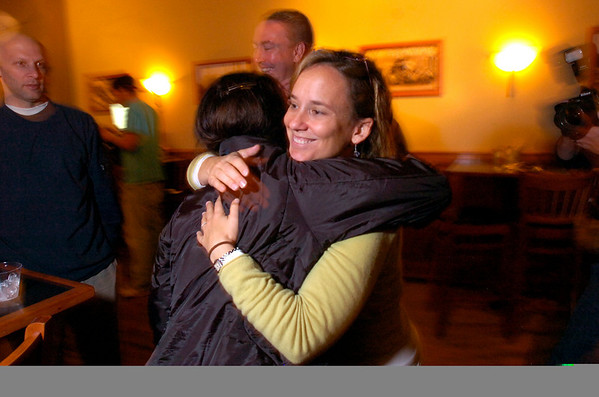 VOTE3.jpg K.C. Becker gets a hug from Jessica Yates during an election night party for the Boulder City Council race at the Draft House in Boulder on Tuesday November 3, 2009.<br /> Photo by Paul Aiken / November 3, 2009