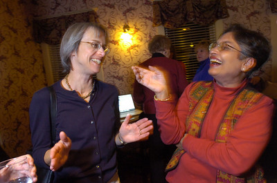 ELECT832.JPG Colorado State Representative Claire Levy, left, jokes with candidate Jyotsna Rajas they watch the election results with candidate Tim Plass during an election night party for the Boulder City Council race at the Hotel Boulderado on Tuesday November 3, 2009. Photo by Paul Aiken / November 3, 2009