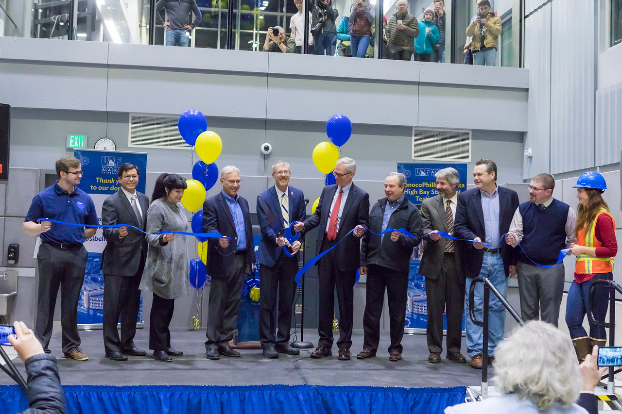 UAF Chancellor Daniel M. White and University of Alaska President Jim Johnsen cut a ribbon officially opening the newly finished Engineering Learning and Innovation Facility Friday, Dec. 8, 2017 at the Fairbanks campus. The ELIF Building is the newest addition to the UAF campus.