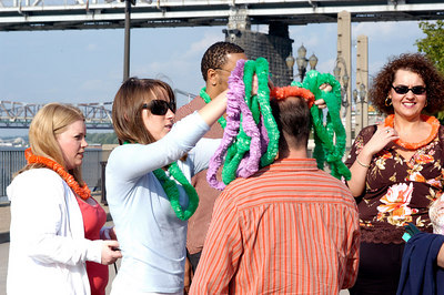 Tropical was the theme at the Norton Healthcare booth during the pre-boarding party. STATCARE EMS Appreciation Cruise.