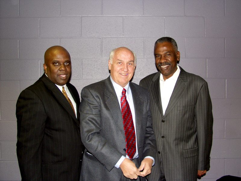 Marvin Bishop, CEO, Dynamic Thought Institute, Billy Packer of CBS Sports, and ESP President, Everett Glenn share a moment at the John McLendon Scholarship Luncheon.