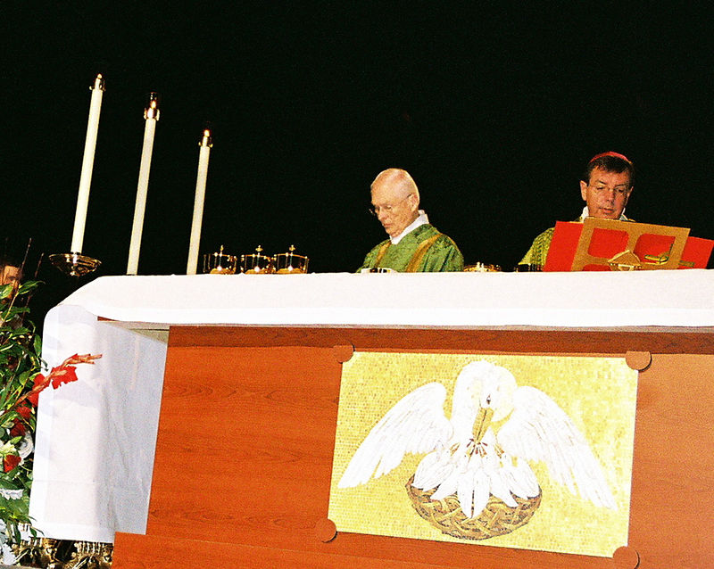 gold  ciboriums on the altar