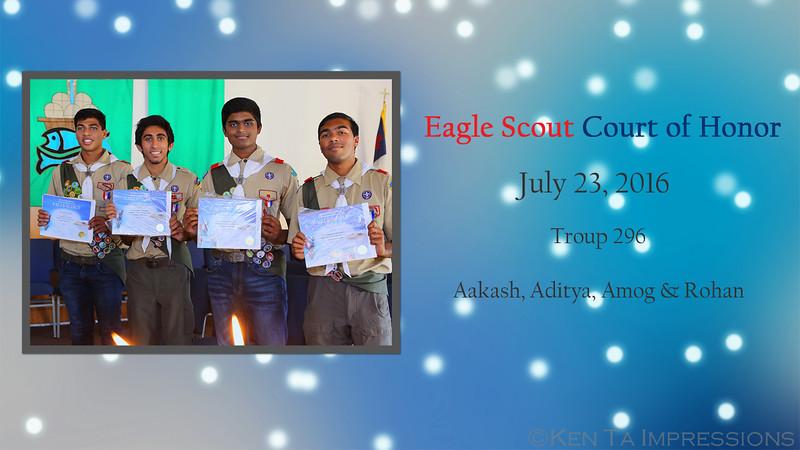 Eagle Scout Court of Honor - Aakash, Aditya, Amog and Rohan
