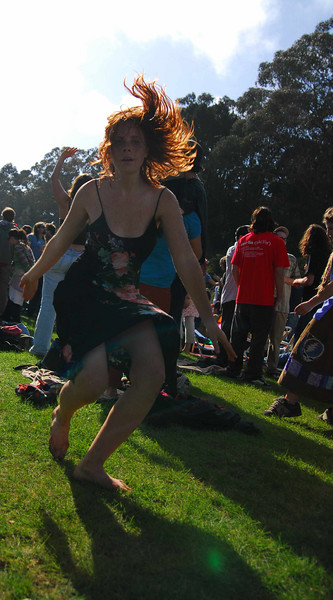 Red headed acid girl at Earthday concert at GG Park