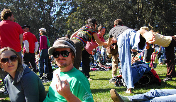 Joe gives the finger to the yogis at Earthday concert at GG Park