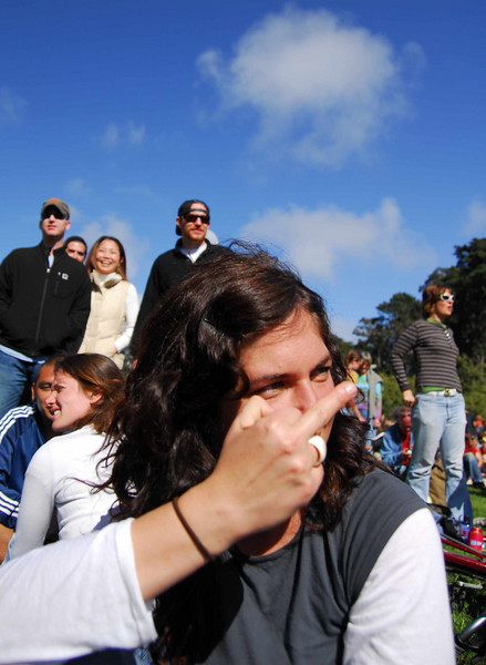 Stacey gives me the finger--->Earthday concert at GG Park
