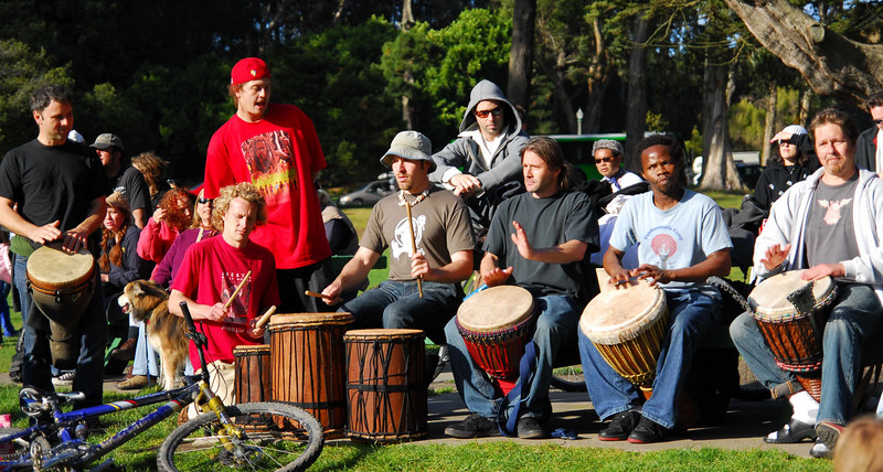 Post concert drum circle Earthday concert at GG Park