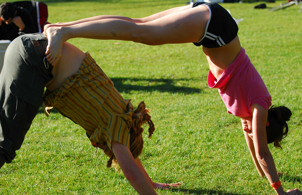 Acro-yoga with Volker and friend at Earthday concert at GG Park