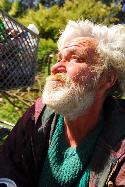 A homeless portrait at Earthday concert at GG Park