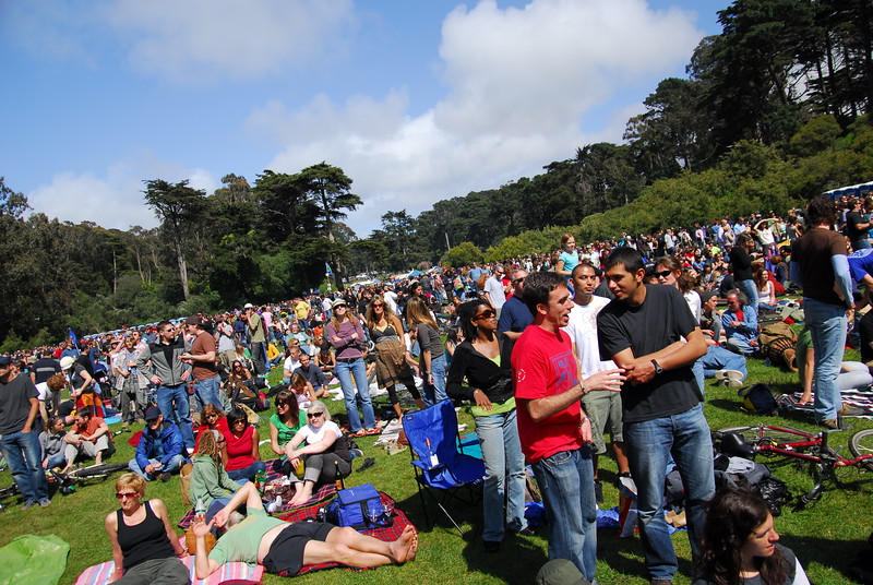 The Earthday Concert in Golden Gate Park, looking East.