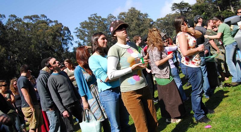 Potty line at Earthday concert at GG Park
