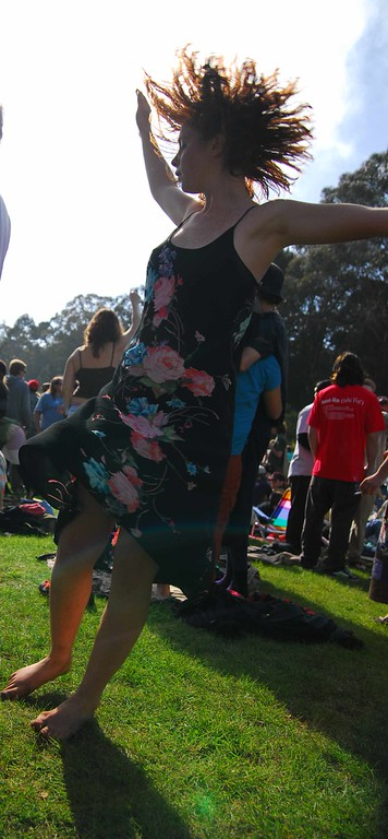 Hairy red headed Acid girl at Earthday concert at GG Park
