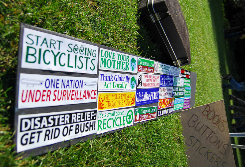 Great bumperstickers at Earthday concert at GG Park