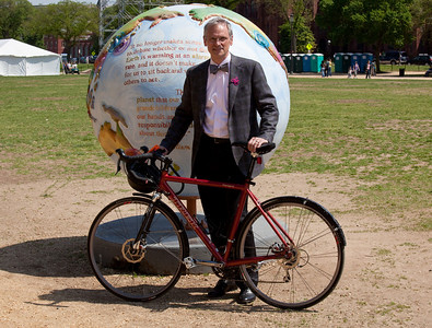 Representative Earl Blumenauer (D-OR) takes his bike to the Earth Day festivities on the National Mall in Washington DC. April 22, 2010 marked the 40th Anniversary of Earth Day. (Photo by Jeff Malet)
