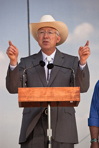 U.S. Secretary of the Interior Ken Salazar speaks during Earth Day festivities on the National Mall in Washington DC. April 22, 2010 marked the 40th Anniversary of Earth Day. (Photo by Jeff Malet)