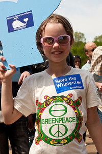 Young Skylar Camerlinck demonstrates at the Earth Day Rally To Save The Whales on the National Mall in Washington DC. The rally was cosponsored by Greenpeace. April 22, 2010 marked the 40th Anniversary of Earth Day. (Photo by Jeff Malet)
