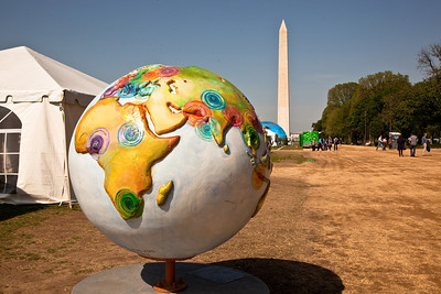 "Hot Ideas for a Cooler Planet, is a public art project designed to raise awareness on solutions for global warming. In Washington DC, ""Clinton Climate Initiative"" globe by artist Sandra Bacon. April 22, 2010 marked the 40th Anniversary of Earth Day.   (Photo by Jeff Malet)"