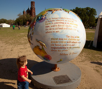 "Hot Ideas for a Cooler Planet, is a public art project designed to raise awareness on solutions for global warming. In Washington DC, ""Clinton Climate Initiative"" globe by artist Sandra Bacon.   (Photo by Jeff Malet)"