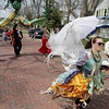 Record-Eagle/Keith King<br /> Gaia Nesvacil, of Traverse City, walks along Eighth Street Saturday, April 30, 2011 as the Traverse City Earth Day Parade heads toward downtown Traverse City.