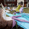 Record-Eagle/Keith King<br /> Penny Krebiehl, of Traverse City, prepares a puppet outside of Central Grade School Saturday, April 30, 2011 to be used in the Traverse City Earth Day Parade.