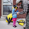 Record-Eagle/Keith King<br /> Kirk Waterstripe helps his daughter, Leah Waterstripe, 6, put on a bee costume outside of Central Grade School Saturday, April 30, 2011 prior to the start of the Traverse City Earth Day Parade.