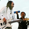 "Don Knight | The Herald Bulletin<br /> Verdine White plays bass as Earth, Wind &  Fire opened Hoosier Park's ""Sounds of Summer"" summer concert series on Friday."