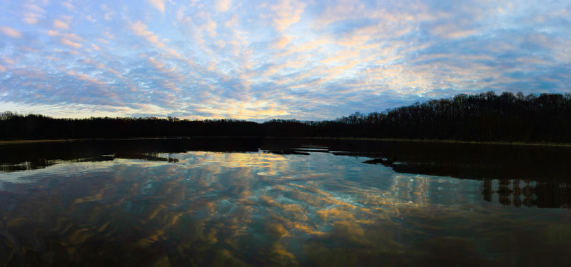 To Infinity<br /> Was paddling on East Fork Lake and this was the sunset.  This is another panoramic photograph.  7ish images I believe.