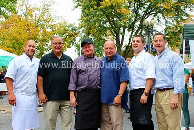 Easton Garlic Fest 2013 Three Mayors Cook-Off; Chef Abe Lopez of Valenca , Easton Mayor Salvatore Panto Jr, Chef Tim Plante at Youells Oyster House, Allentown Mayor Ed Pawlowski, Chef Joe Grisafi, Bethlehem Mayor John Callahan.