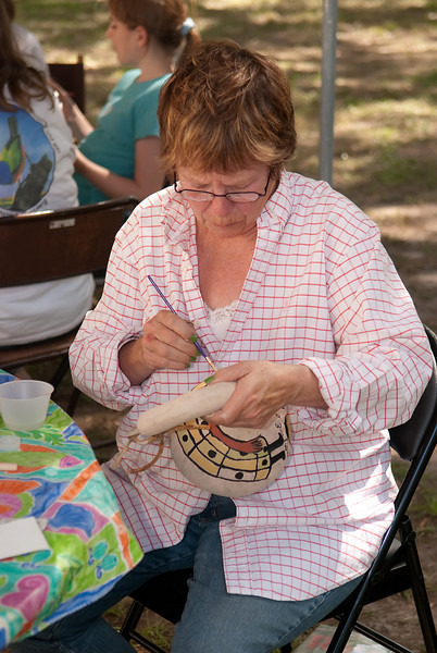 Gourd painting activity at Indigo Farms