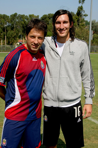 Aug 15, 2008. Chivas Coach Preki (Left) with player Sacha Kljestan (right)