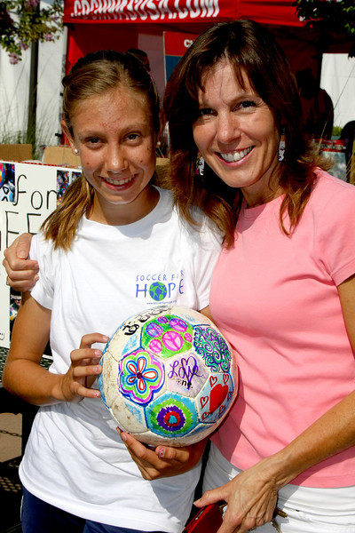 "Aug 15, 2008. Gabriela Iribarne (left), age 15, with her mom, head up the nonprofit organization ""Futbol 4 Refugees"". Gabriela is in 10th grade at Laguna Hills High School.  http://www.coronaunitedsoccer.org/index.php?ct=FutbolforRefugees"