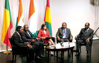 The Presidents of four Francophone countries: President of Benin  Boni Yayi, President of Guinea Alpha Conde, President of Niger Mahamadou Issoufou and President of Cote d'Ivoire Alassane Ouattara speak with moderator USIP's Executive Vice President Tara Sonenshine