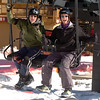 Ray Smith, left, and Mike Hermann, appear to enjoying themselves on the chairlift at Eldora.<br /> Friday, November 20, 2009, was opening day at the Eldora Mountain Resort.<br /> Cliff Grassmick / November 20, 2009