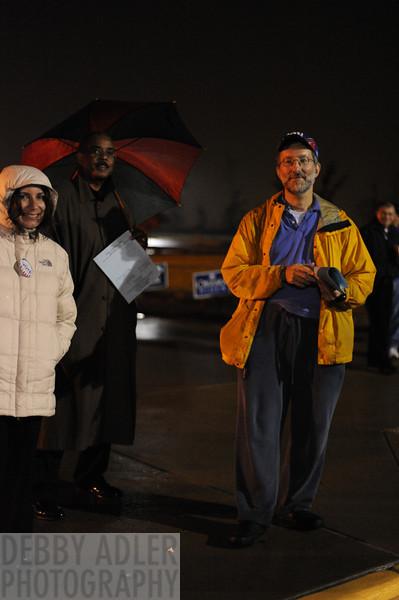 Volunteers at the polls just before closing in Mannasses, VA.