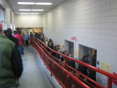Early morning line to vote at our polling place (E.N.White School, Holyoke)