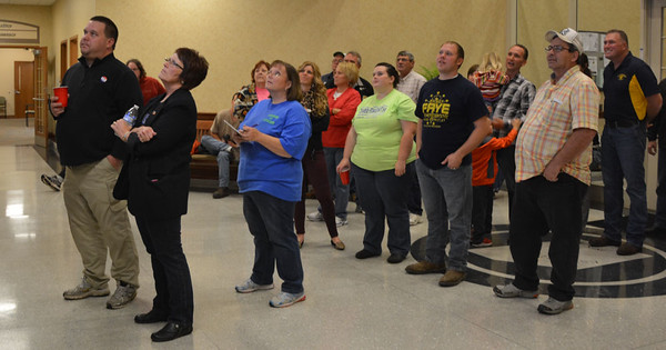 Diane Raver | The Herald-Tribune<br /> Throughout the evening, persons watched the election results on the TV screens in the Ripley County Annex.